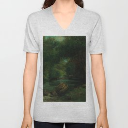 "Gustave Courbet ""A Brook in the Forest"" Unisex V-Neck"