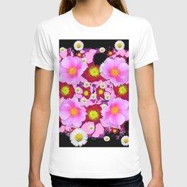 Black Design & Pink Roses Shasta Daisies Art Abstract T-shirt