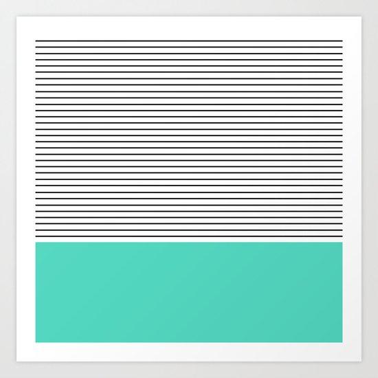 MINIMAL Teal Blue Stripes Art Print