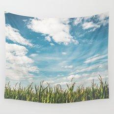 Green Field Blue Sky Wall Tapestry