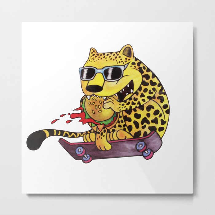 Skating Cheetah Metal Print