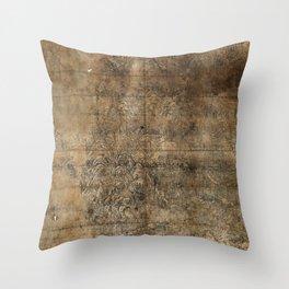 Map of Mount Wutai (1846) Wutaishan sheng jing quan tu Throw Pillow