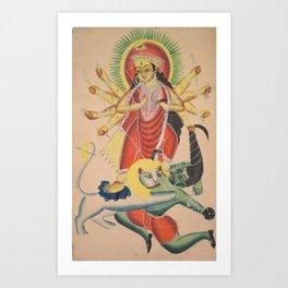 Durga Killing the Demon Mahisha - 19th Century Classical Hindu Art Art Print