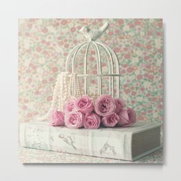Reading Peonies Metal Print