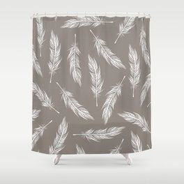 White Feather Pattern Shower Curtain