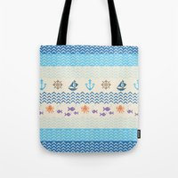 knitting Tote Bags featuring Sea Knitting by Ornaart