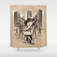 zombies Shower Curtains featuring Zombies by Ronan Lynam