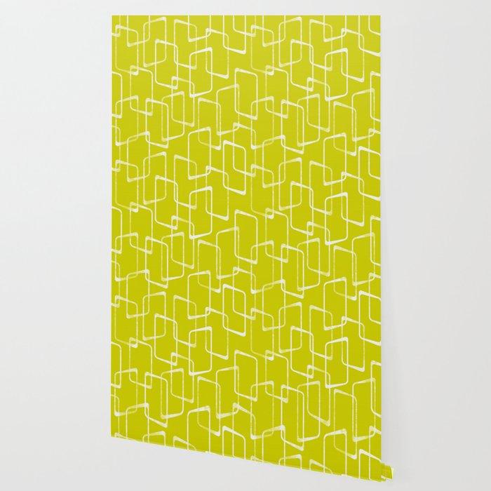 Lime Green Retro Geometric Pattern Wallpaper