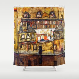 Egon Schiele House Wall on the River Shower Curtain
