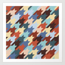 Colored houndstooth Art Print