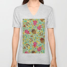 Colorful fall leaves collage pattern Unisex V-Neck