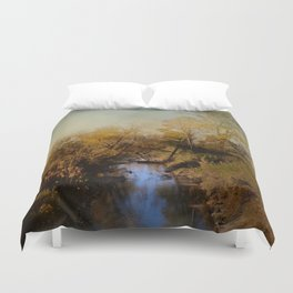 Blue Creek In Autumn Duvet Cover