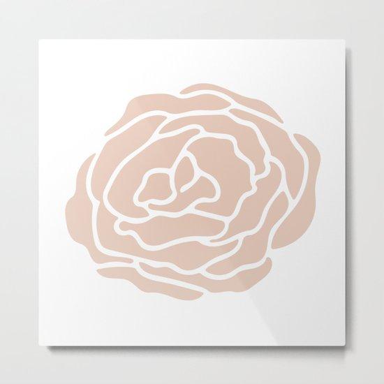 Rose in Vintage Rose Pink on White Metal Print