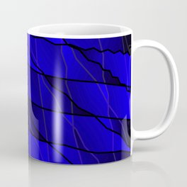Mirrored gradient shards of curved blue intersecting ribbons and horizontal lines. Coffee Mug