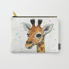 Baby-Giraffe-Nursery-Print-Watercolor-Animal-Portrait-Hearts Carry-All Pouch