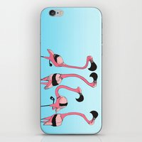 flamingos iPhone & iPod Skins featuring Flamingos by Diana Dypvik