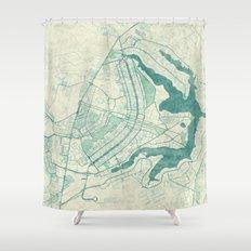 Brasilia Map Blue Vintage Shower Curtain