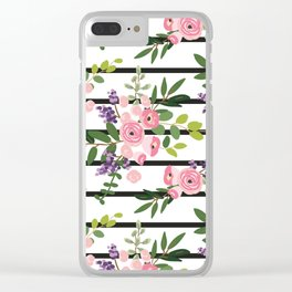 Pink roses bouquets with greenery on the striped background Clear iPhone Case