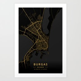Burgas, Bulgaria - Gold Art Print