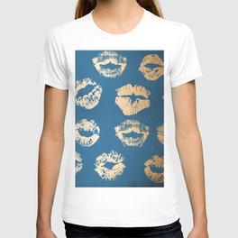 Metallic Gold Lips in Orange Sherbet and Saltwater Taffy Teal Shimmer T-shirt