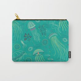 Into the Deep Jellies - Teal Carry-All Pouch