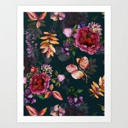 Autumn dark roses and florals Art Print
