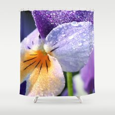 sparkly pansy  Shower Curtain