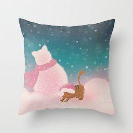 Snow Tabby Cat & Her Snowman, Indigo Snowy Background Throw Pillow
