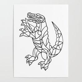 Alligator Prancing Mosaic Black and White Poster