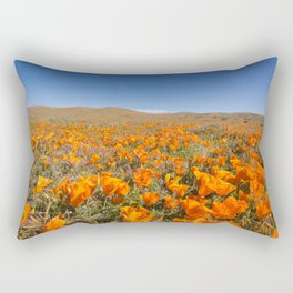 Blooming poppies in Antelope Valley Poppy Reserve Rectangular Pillow
