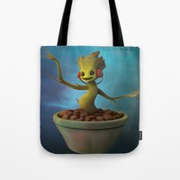 groot Tote Bags featuring Groot! by Drogyn