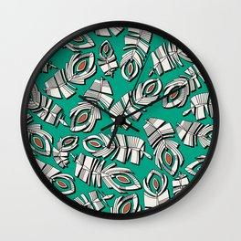 deco feathers emerald sienna Wall Clock