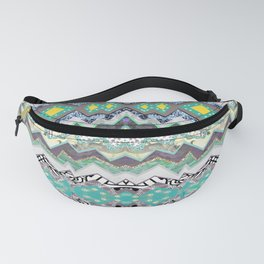 Teal Yellow White Midnight Aztec Fanny Pack