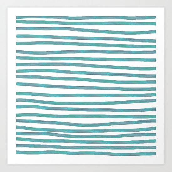 Ocean Green Hand-painted Stripes Art Print
