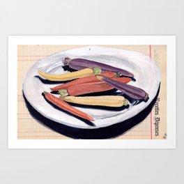 Tri-Color Baby Carrots in Gouache Art Print
