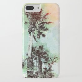Watercolor Palm Trees- Rainbow Edition iPhone Case
