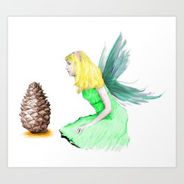Pine Tree Fairy And Pine Cone Art Print