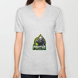 Panda Fighter Esport Mascot Logo Design Unisex V-Neck