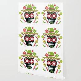 Mexican Cinco De Mayo Skull Party Wallpaper