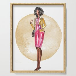 AUNT BOSS LADY FASHIONISTA (gold watercolor splash) Serving Tray