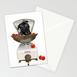 Kitchen scales black Pug Tomatoes Stationery Cards