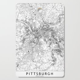 Pittsburgh White Map Cutting Board