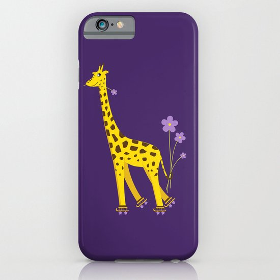 Funny Giraffe Roller Skating iPhone & iPod Case