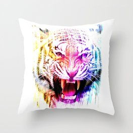 Angry tiger 01 Throw Pillow