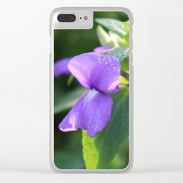 Purple Snap Dragon Flowers Clear iPhone Case