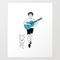 Guitar & Pup - Teal Art Print