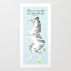 Blue Zebra (Dr. Seuss quote) Right Art Print