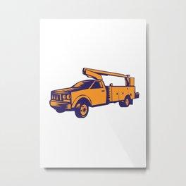 Cherry Picker Mobile Lift Truck Woodcut Metal Print