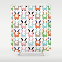 bunnies Shower Curtains featuring bunnies by PETITE PATATE