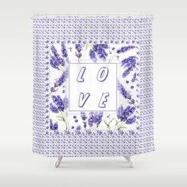 Elegant LOVE Watercolour Lavender Floral Pattern Shower Curtain